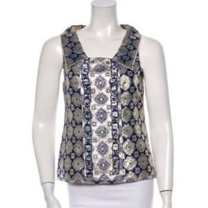 Prada Metallic Brocade Lame Arabesque Ematite Top.